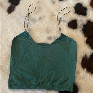 Skinny strap brami green color with black straps